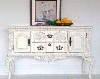 White Distressed Buffet, Cream Buffet,Painted Furniture, Distressed  Sideboard, Hand Painted