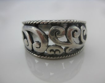 Size 7 Vintage Sterling Silver Swirl Ring Band