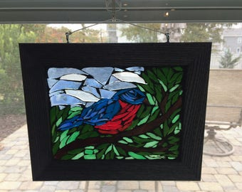 Bluebird Suncatcher, Blue Bird, Bird watcher gift, Blue bird of happiness, Stained glass bluebird, mosaic blue bird window