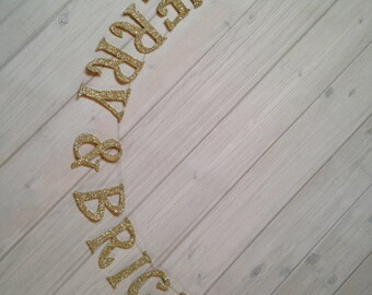 Merry & Bright Christmas Banner Silver German Glass Glitter Banner Handmade Cottage Chic Boho Vintage Home Decor Christmas Banner