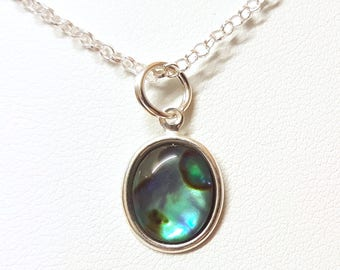 Abalone Pendant Necklace, Silver Necklace, Sterling Silver, Silver Pendant, Pendant Necklace, Abalone Necklace, Cabochon Gem, Abalone Shell