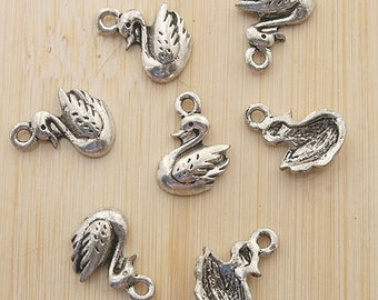 30pcs 14.5x11mm antiqued silver goose charms pendants G357