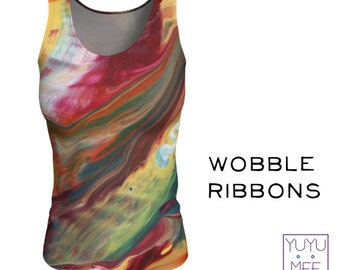 "Tank Top, Long, Women's, Yoga, Fitness, ""WOBBLE RIBBONS"""