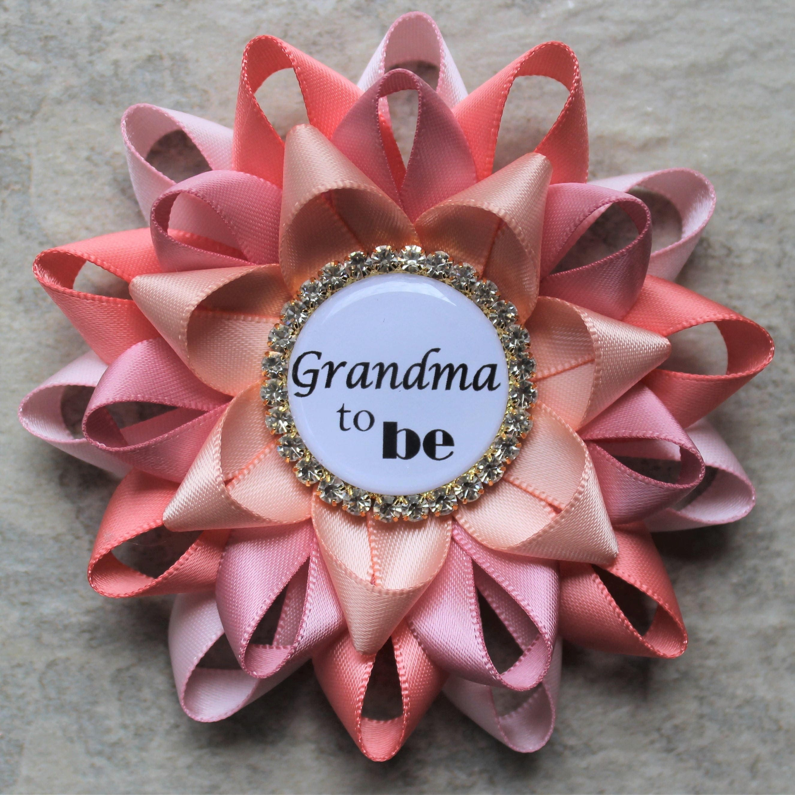Grandma to be pin personalized baby shower corsage new grandma grandma to be pin personalized baby shower corsage new grandma gift aunt to be gift mommy to be pale pink coral quartz peachy pink negle Image collections