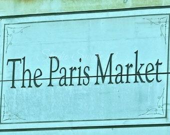 """Paris Decor, Paris Sign, Word Art, Aqua Turquoise Print, Shabby Blue Paris Sign, Savannah Photo, French Storefront Print- """"Paris Market"""""""