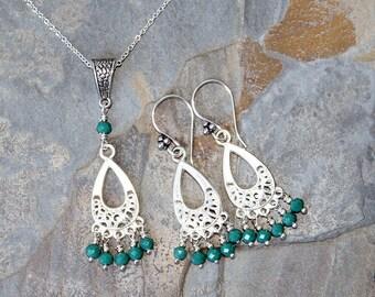 Aqua Jewelry Set, Blue Green Jewelry Set, Filigree Necklace, Bohemian Jewelry Set, Crystal Jewelry Set, Boho Jewelry Set, Gypsy Jewelry Set