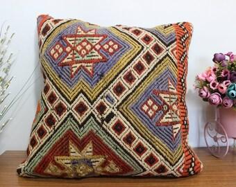Cecim kilim pillow 20x20 anatolian kilim pillow anatolian kilim pillow 20x20 Turkish kilim pillow cover floor pillow cover boho pillow