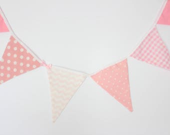 """Pink and White Bunting, 6'11"""" (2.1m), Fabric Banner, Pink and White Wall Decor, Baby Shower Decor, Pink Wall Decor, Bunting for Girls"""