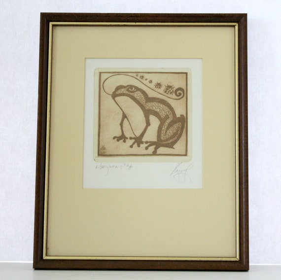 Vintage Wood Block Print of Frog and Ladybugs   Signed and Framed