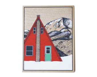 Christmas Card - Red A-Frame Cabin