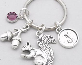 Squirrel with acorn vintage initial keyring | squirrel keychain | personalised squirrel keyring | squirrel accessory | squirrel gift