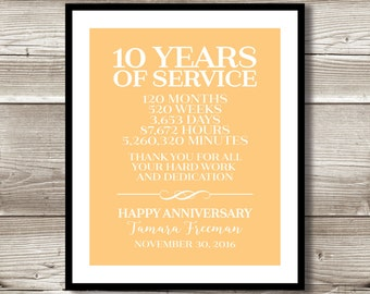 10 Year Work Anniversary Print; gift; digital print; customizable; thank you gift; years of service; retirement; employee recognition