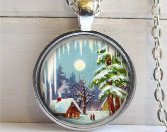 Christmas Jewelry, Winter Scene Pendant, Winter Necklace, Country Christmas Necklace
