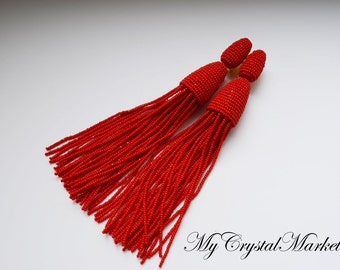 Beaded long tassels earrings. Clips in the style of Oscar de la Renta. Handmade.