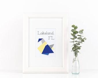 Geometric City Art -- Lakeland FL Swan Print