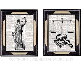 JUSTICE Lady and SCALE GAVEL 2 art prints law barrister lawyer office decor vintage dictionary text book page black white wall decor 8x10