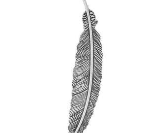 3 Feather Bird Fly Wing Large Antique Silver Charms Pendant 22mm x 105mm (308)
