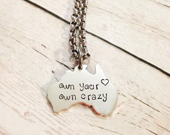 Australian necklace etsy hand stamped personalised sterling silver family australia pendant necklace aloadofball Image collections