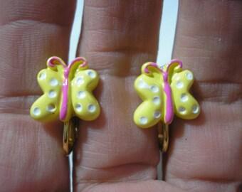 "Butterfly - Play Earring - Clip or Pierced - Polka Dot - Yellow - 1/2"""