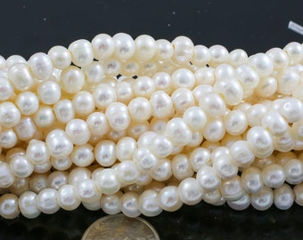 7-8mm Large Hole Freshwater  Pearl, 8 Inch Strand