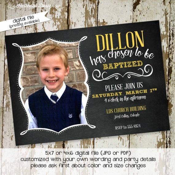 mormon baptism invitation chalkboard chic Great to be Eight 8 LDS baptism invitation 8th birthday invite sonogram photo 710 Katiedid Designs