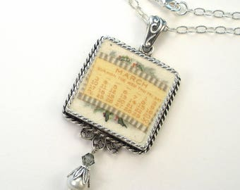 Broken China Jewelry March Birthday Necklace Vintage Charm Designs Handcrafted by Charmedware