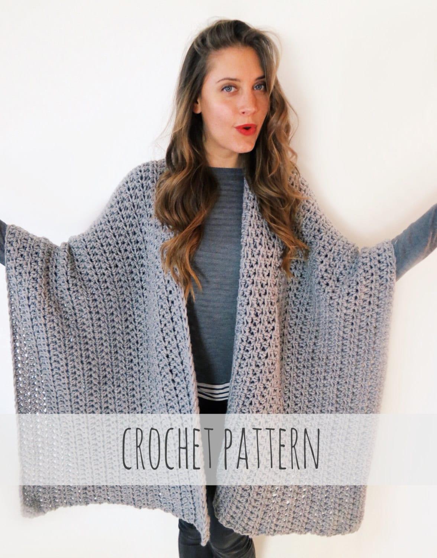 PATTERN for Blanket Poncho Crochet Wrap Cape Cardigan Ruana Boho ...