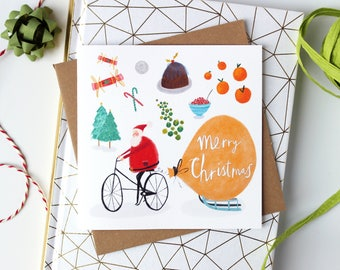 SALE // Christmas Cards - Pack of 6 Christmas cards - Christmas - Pack of Illustrated Christmas Cards - seasonal greetings cards - Santa
