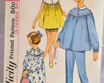 Vintage 1964 Sewing Pattern Simplicity 5552 Girls' Night Gown and Pajamas Size 8 Breast 26 inches Complete