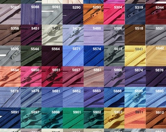 """7"""" YKK Vintage  WHOLESALE  Zippers 7 inch - YKK number two and half  style - Closed End - Select Your own color (12 zippers for each color)"""
