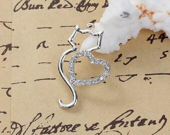 "3 ""Cat"" silver pendants and rhinestones of 3.6 cm / Animal"