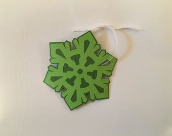 Green snowflake gift tags set of 5/ present labels