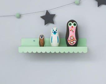 decorative shelf, display, small shelf, scalloped shelves, shelf decor, turquoise decor, white decor, bedroom shelves, floating shelf, ledge