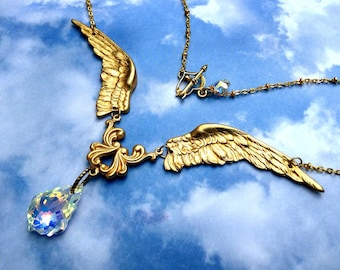 Ethereal Gold Plated Angel Swarovski Chandelier Drop and gold plated link chain Necklace