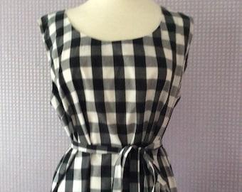Gingham check pinafore dress