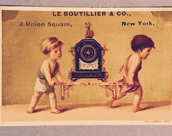Victorian Trade Card 1800s, Two Little Boys Carrying a  Mantle Clock, Le Boutillier Marble Mantle Clocks, A Wonderful Antique Collectible