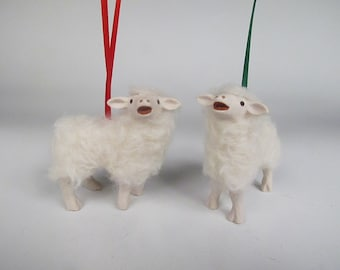 Handcrafted Porcelain and Wool Baaing Cotswold Lamb Ornament