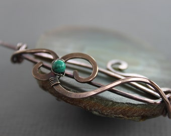 Swirly copper shawl pin or cardigan clasp with small turquoise stone, Fibula, Brooch, Cardigan clasp, Beaded shawl pin, SP103
