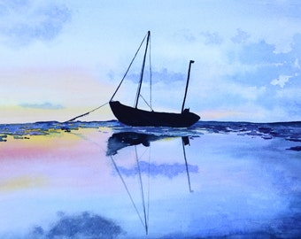 "Single Boat Landscape 11"" x 17"" Watercolor Illustration"