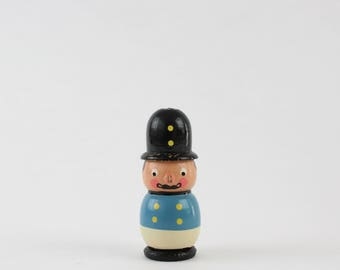 Vintage Wooden Police Officer Figurine - Wooden Bobby British Police Officer Made in Italy