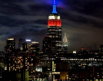 "New York Photograph, Color Photography, NYC Photo, Wall Art, Art Print, Night Photo, Empire State Building, ""Red, White & Blue Lights"""