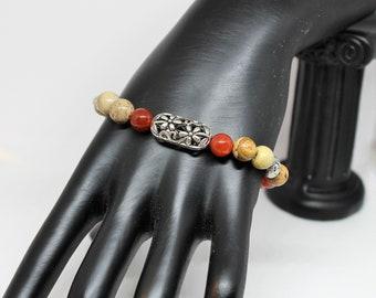 Beaded bracelet, earth tones bracelet, flower bracelet, agate and jasper bracelet, gift for her, colorful bracelet, gift for mom
