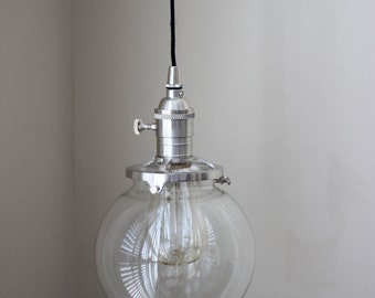 "Pendant Lighting Brushed Satin Nickel - 6"" Clear Glass Globe - Cloth Wire - Plug In or Ceiling Canopy Mount"