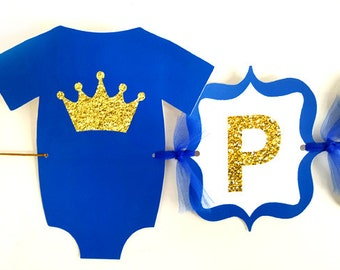 Prince Baby Shower Banner, Prince Birthday Banner, Royal Blue and Gold Baby Shower Banner