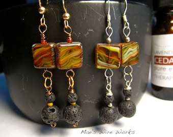 Essential Oil Lava Bead Diffuser Earrings, Square Glass Czech Bead, Silver/Gold - Hypoallergenic