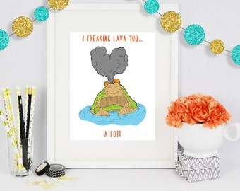 I Lava you a lot, Poster Print, Poster Art, Wall Art, Colorful Art, Birthday Gift, Gift for Him, Gift for Her, Office Artwork