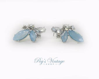 Vintage Blue & Clear Rhinestone Earrings, Pierced Rhinestone Leaf Earrings, Bridal Jewellery