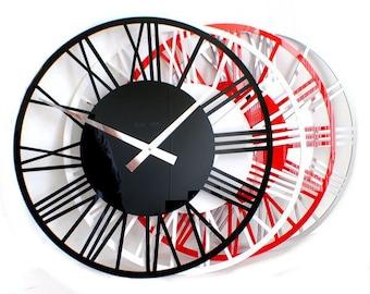 Roco Verre Gloss Acrylic Skeleton Roman Wall Clock Small