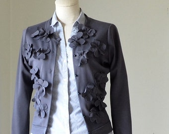 Charcoal Gray Flowered Cardigan