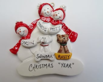 Snow Family of 3 Christmas Ornament with 2 Pets - Custom Pets Added to Family of 3 Christmas Ornament - Dogs or Cat